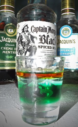 black and mint shot